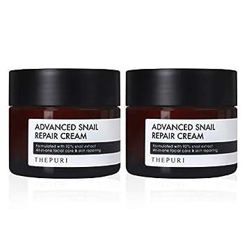 THEPURI Advanced Snail Repair Cream 3.17fl.oz. 90g Pack of 2 – Anti-Aging Deep Moisturizing Whitening Skin Care 92 Snail Mucin Extract Facial Moisturizer