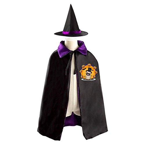 27 Pug Costumes (Halloween Costume Children Cloak Cape Wizard Hat Cosplay Halloween Cartoon Pug Dog With Pumpkin For Kids Boys Girls)