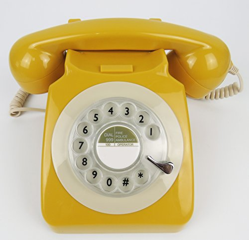 Classic Antique Rotary Desk Phone (yellow)