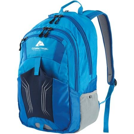 Ozark Trail 25L Stillwater, Durable Fleece-lined Media Pocket Outdoor, Camping 25-liter Capacity Hydration Compatible Polyester Daypack Backpack- Blue