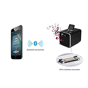 30pin Bluetooth Adapter 4.1 A2DP Audio Music Receiver for Bose Sounddock and 30Pin iPhone iPod Dock Speaker,(Not compatible with any car)(Black)
