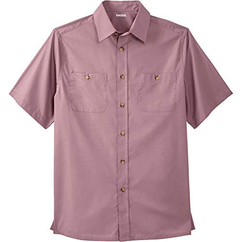 KingSize Men's Big & Tall Short Sleeve Solid Sport Shirt, Dusty Pink Big-3XL