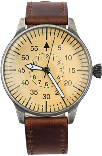 Army pilot watch with vintage look leather strap and large dial Great quality Luftwaffe ME 109 Pilot vintage style watch with light brown leather strap. Modern quartz technology, luminous hands and minute points for night-time reading. Please see the...