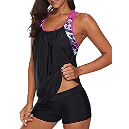 Asvivid Women Tankini 2 Pcs Swimwear T Back Swimsuit Top with Boyshort Bottom Size 8-24