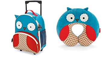 Skip Hop Zoo Little Kid Rolling Luggage and Neck Rest Set - Owl