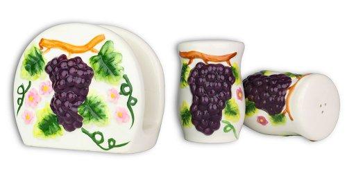 3 Pc. Set - Grape Design Ceramic Salt Pepper Shaker & Napkin Holder ()