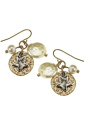 Two Tone Hammered Star with Imitation Pearl Cluster Earrings