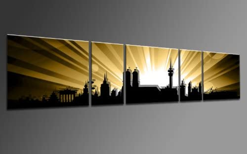 TOP impresión sobre lienzo CITY PANORAMA STYLE Munich oro 5 piezas ...