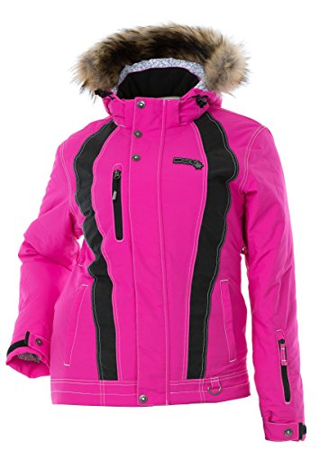 (DSG Outerwear Women's Divine III Jacket - Wamest Water-Proof Thinsulate Insulated Removable Fur Trim Hood (Pink, 2XL))