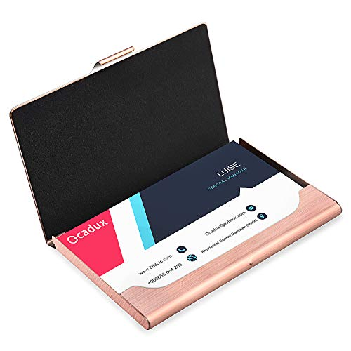 Ocadux Professional Business Card Holder Case, Metal Pocket Business Card Case for Women or Men, Stainless Steel, 3.7 x 2.3 x 0.3 inches, Rose Gold ()