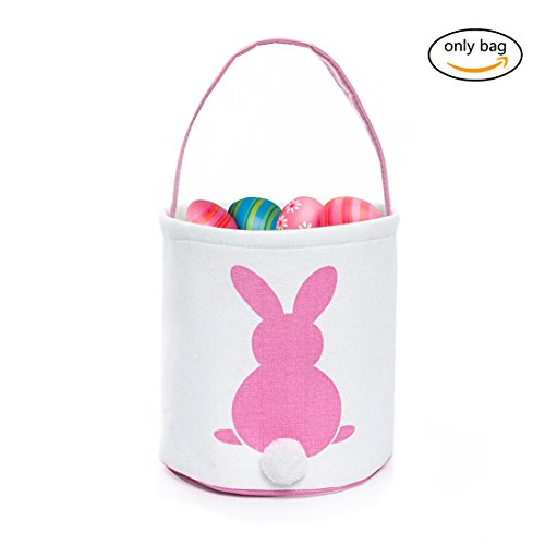 GWELL Easter Bunny Basket, Foldable Gift Basket Bucket for Kids, DIY Gifts, Egg Hunt, Candies, Goodies, Canvas Bag with Bunny Tail -