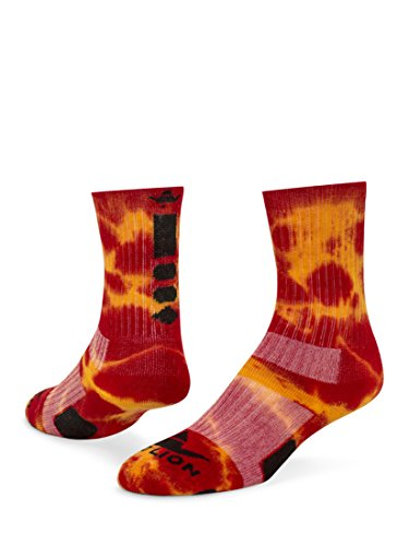 RedLion Maxim Tie Dye Athletic Socks (Red/Gold - Medium)