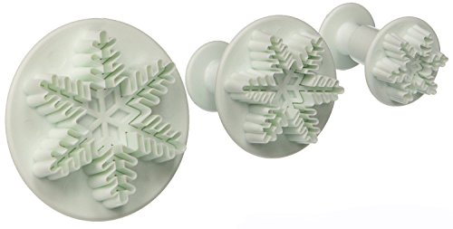 Lautechco® 3Pcs/Set Snowflake Fondant Cake Decorating Plunger Sugarcraft Cutter Mold Tools Christmas Cake Decorating Tools (Cake Christmas Marzipan Non)