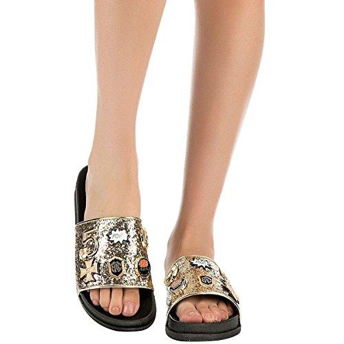 - CAPE ROBBIN Moira-25 Women Slides Flip Flop Glitter Metal Pendant Ornament Sandal Pink (6, Gold)