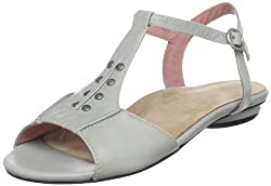 Portlandia Women's Manzanita T-Strap Flat,Light Grey,36 EU/5.5-6 W US