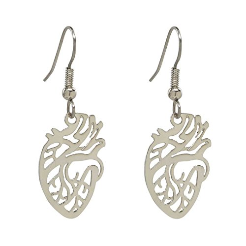 Anatomical Heart Earrings - Science Jewelry Gift For Scientist Nurse Or Teacher (rhodium-plated-brass)