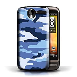 KOBALT? Protective Hard Back Phone Case / Cover for HTC Desire G7 | Blue 2 Design | Camouflage Army Navy Collection