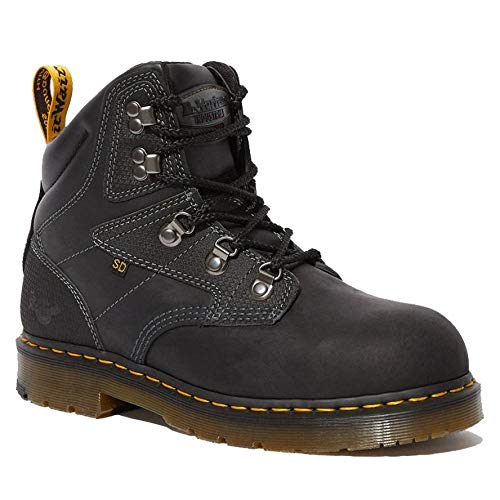 Dr. Martens - Unisex Earlstoke Steel Toe Light Industry Boots, Black, 5 US Women/4 US Men