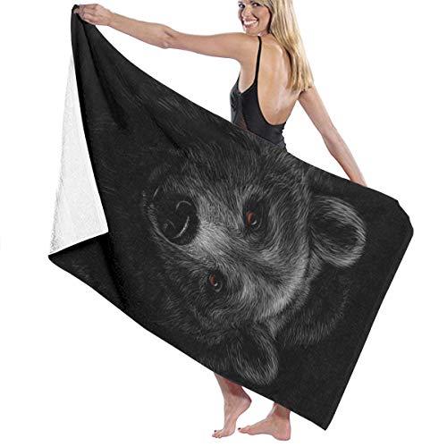 SARA NELL Microfiber Beach Towel Brown Bear Head On A Black Bath Towel Beach Blanket Quick Dry Towel for Travel Swim Pool Yoga Camping Gym Sport -30