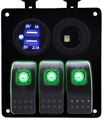 Iztoss 3 Gang Rocker Switch Panel with Power Socket 3.1A Dual USB Wiring Kits and Decal Sticker Labels DC12V/24V for Marine Boat Car Rv Vehicles Truck Green led S698-B