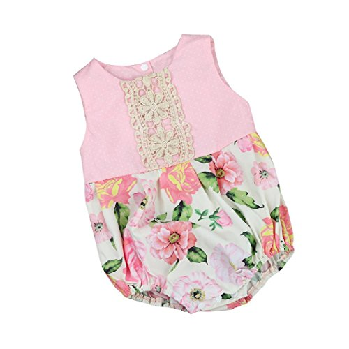 Rosiest Toddler Newborn Baby Girl Floral Print Lace Romper Jumpsuit Outfits Clothes (Deep Nylon Sheath)