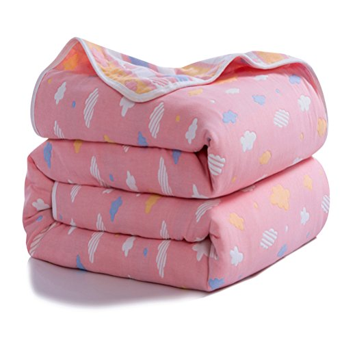 Joyreap 6 Layers of 100% Muslin Cotton Summer Blanket - Soft Lightweight Summer Quilt for Teens & Kids - Hypoallergenic Durable and Comfortable Throw Blanket (Cloud-Pink, 47