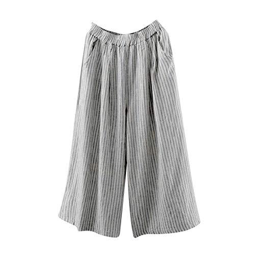 (Muranba Clearance Womens Loose Stripe Plus Size Cotton Linen Wide Leg)