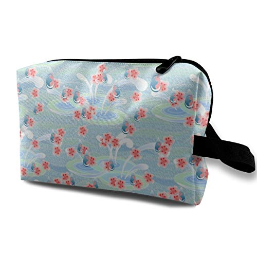 (Â 2011 Cherry Blossom Rain_1735 Toiletry Bag With Zipper Small Cosmetic Case Organizer Adjustable Dividers Women And Girls Dark Blue)
