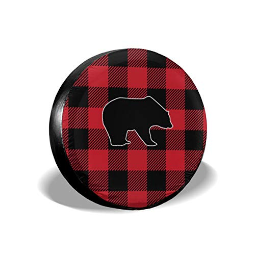 Red Buffalo Check Bear Black Plaid2 Classic Polyester Spare Tire Cover Dust-Proof for All Cars]()