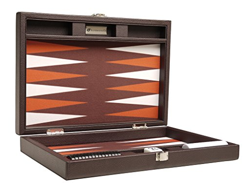 13-inch Premium Backgammon Set - Travel Size - Dark Brown Board ()