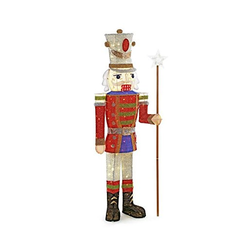 Home Accents Holiday 72 in. LED Tinsel Nutcracker and 5 ft. Pre-Lit Tinsel Nutcracker Soldier by Home Accents Holiday (Image #4)