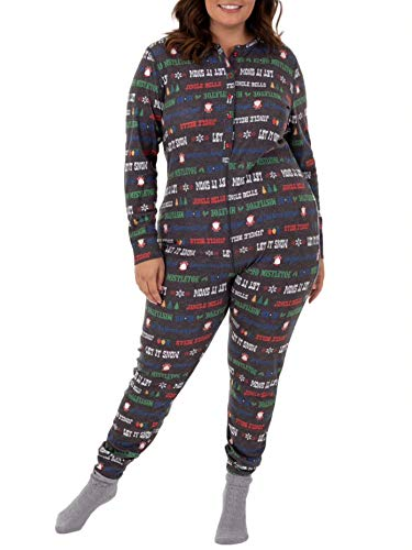 - Fruit of the Loom Women's Plus Size Waffle Thermal Union Suit, Jingle Bells, 2X