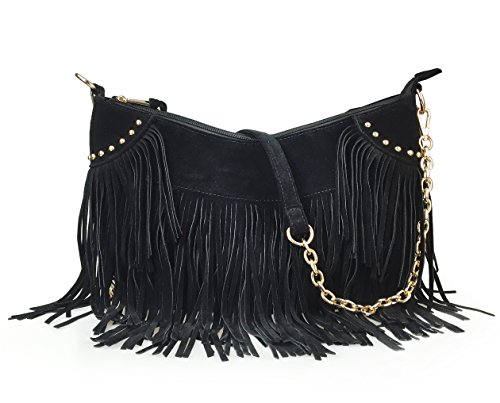 (Hoxis Tassel Faux Suede Leather Hobo Cross Body Chain Shoulder Bag Women's Satchel (Black))