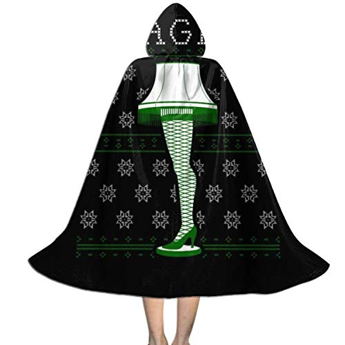 QINWEILU A Christmas Story Leg Lamp Knit Pattern Unisex Kids Hooded Cloak Cape Halloween Party Decoration Role Cosplay Costumes Outwear Black