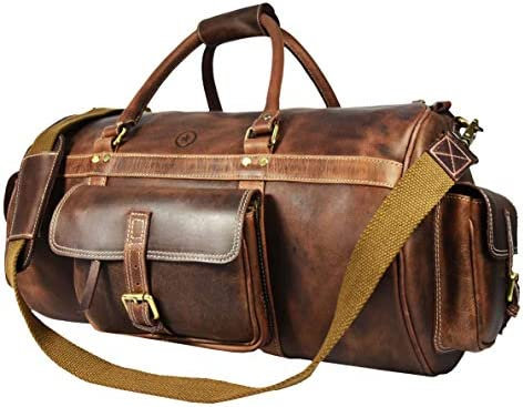 Full Grain Leather Travel Duffle Barrel Bag With Adjustable Straps Large Compartment Zippered Side Pockets Weekend Overnight Bag Cedar, 24 Inch