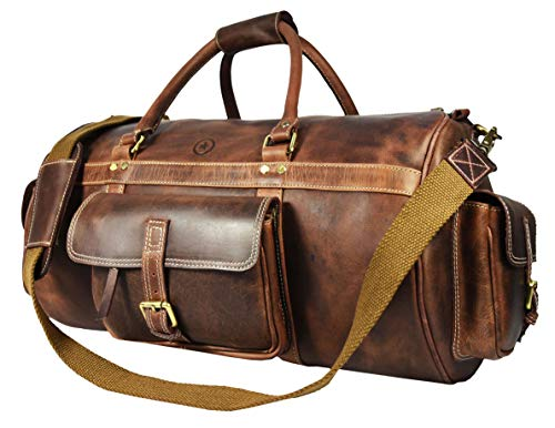 Full Grain Leather Travel Duffle Barrel Bag With Adjustable Straps | Large Compartment & Zippered Side Pockets Weekend Overnight Bag (Cedar, 24 Inch) (Barrel 24 Inch)