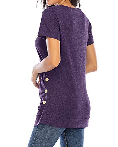CIZITZZ Tunic Tops for Leggings for Women Short Sleeve V Neck T Shirts Casual