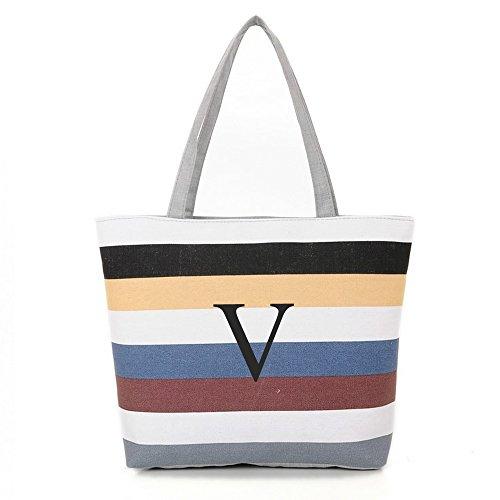 [ INITIAL - V ] Monogram Name Canvas Tote Shoulder Bag - Colorful ()
