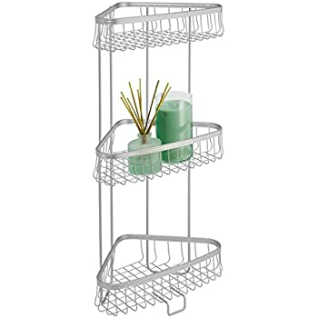 MDesign Free Standing Bathroom Storage Shelves For Towels, Soap, Tissues,  Lotion, Accessories