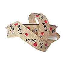 "Valentine Love Heart Faux Burlap Ribbon - 25 Yds/roll (3/8"")"