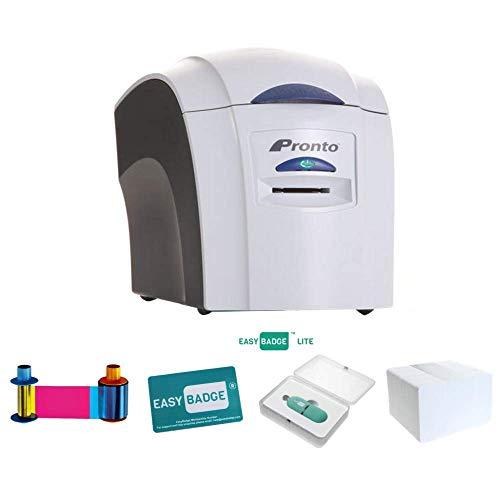 Magicard Pronto ID Card Printer Bundle   Magicard Pronto with Magicard EN1 (MA300YMCKO) Printer Ribbon, 100 Plastic…