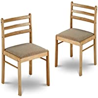 2 New Natural Finish Wooden Dining Chairs with Cushions