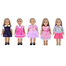 Ebuddy Fashion 5-sets Different Style Doll Party Dress Clothes For 18 inch American Girl