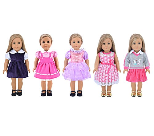 Ebuddy-Fashion-5-sets-Ramdon-Different-Style-Doll-Party-Dress-Clothes-For-18-inch-American-Girl
