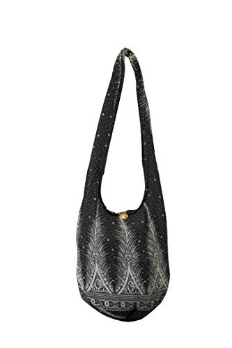 Sling Cross body BAG COTTON over 40 prints sustainable living eco friendly shopping bag (Silver Feather)