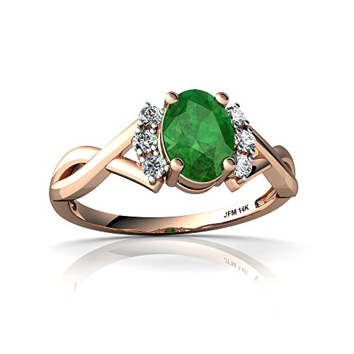 14kt Rose Gold Emerald and Diamond 7x5mm Oval Victorian Twist Ring - Size 9 14kt Gold 9x7 Emerald