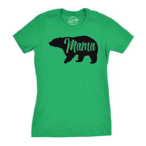 Womens Mama Bear Tshirt Cute Funny Mom Mothers Day Tee (Green) - M ()