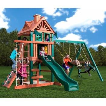 pink swing back playground backyard