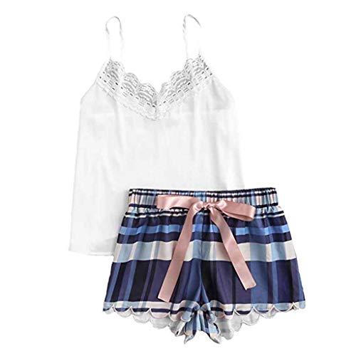 dc451b4e90 HULKAY Upgrade Women s Lace Trim Satin Cami and Shorts Pajama Set(White ...