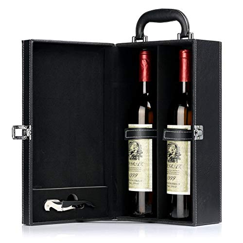 HiCrast Wine Gift Box, Leather Wine Case for 2 Standard Wine Bottles, Handmade Premium Wine Carrier with Corkscrew - Best Wine Gift idea for Man Friends - Modern Black Top Handle Wine Box Set